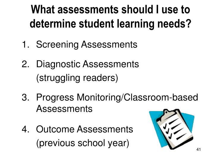 What assessments should I use to determine student learning needs?