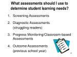 what assessments should i use to determine student learning needs