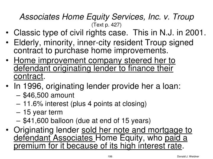 Associates Home Equity Services, Inc. v. Troup