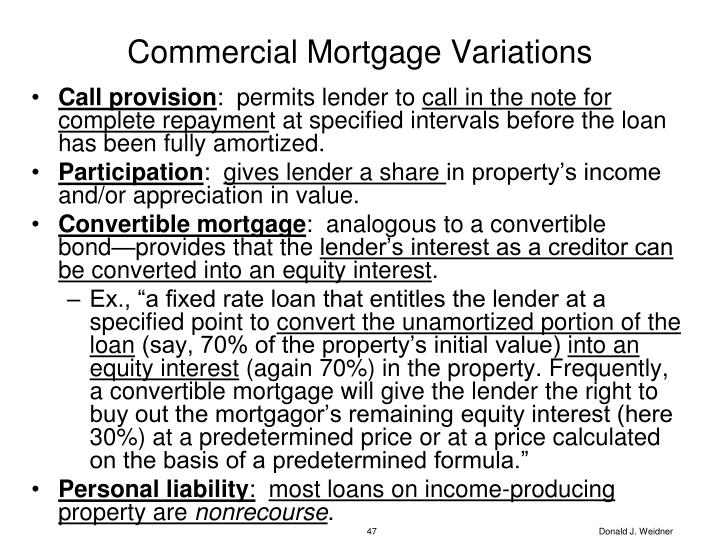 Commercial Mortgage Variations
