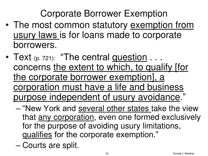 Corporate Borrower Exemption