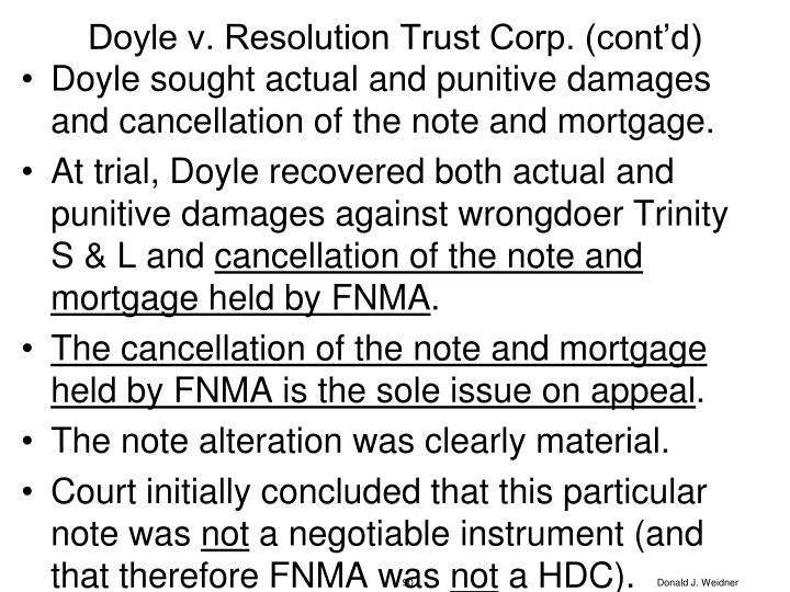 Doyle v. Resolution Trust Corp. (cont'd)