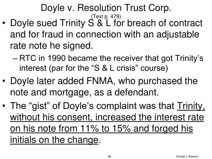 Doyle v. Resolution Trust Corp.
