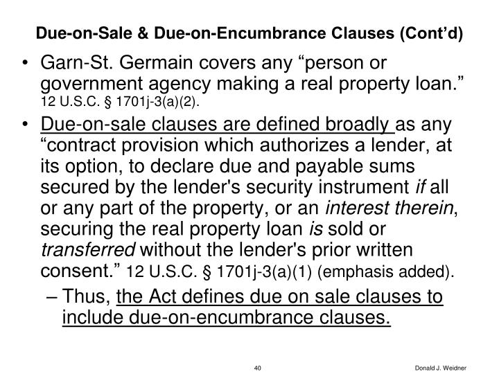 Due-on-Sale & Due-on-Encumbrance Clauses (Cont'd)