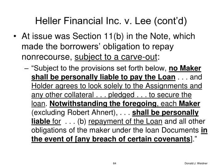 Heller Financial Inc. v. Lee (cont'd)