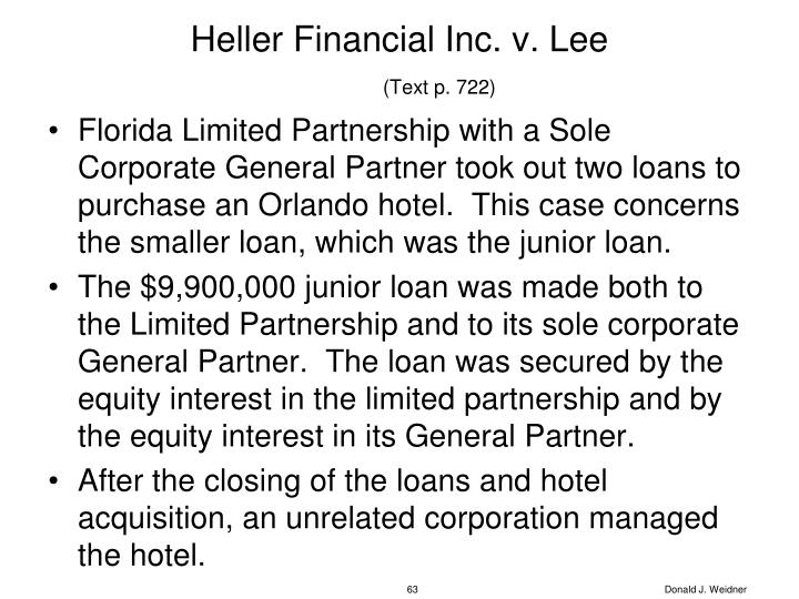 Heller Financial Inc. v. Lee