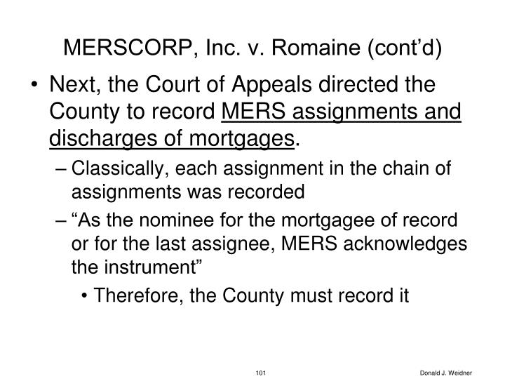 MERSCORP, Inc. v. Romaine (cont'd)