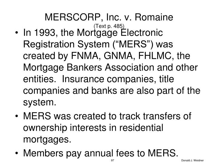 MERSCORP, Inc. v. Romaine