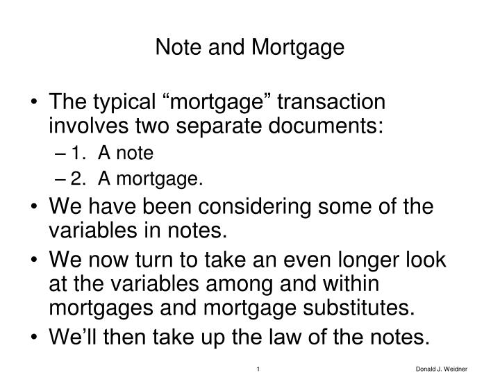 Note and mortgage