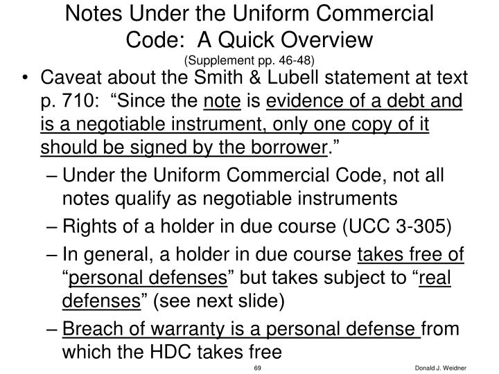 Notes Under the Uniform Commercial Code:  A Quick Overview