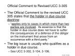 official comment to revised ucc 3 305