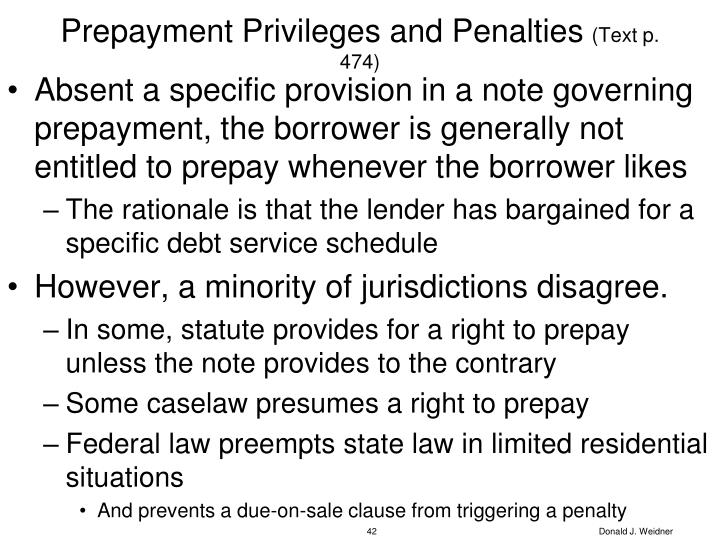 Prepayment Privileges and Penalties