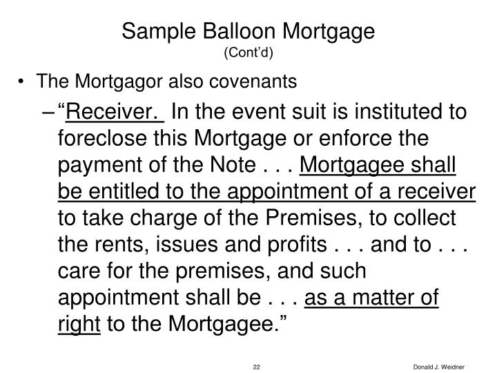 Sample Balloon Mortgage