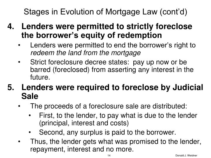 Stages in Evolution of Mortgage Law (cont'd)