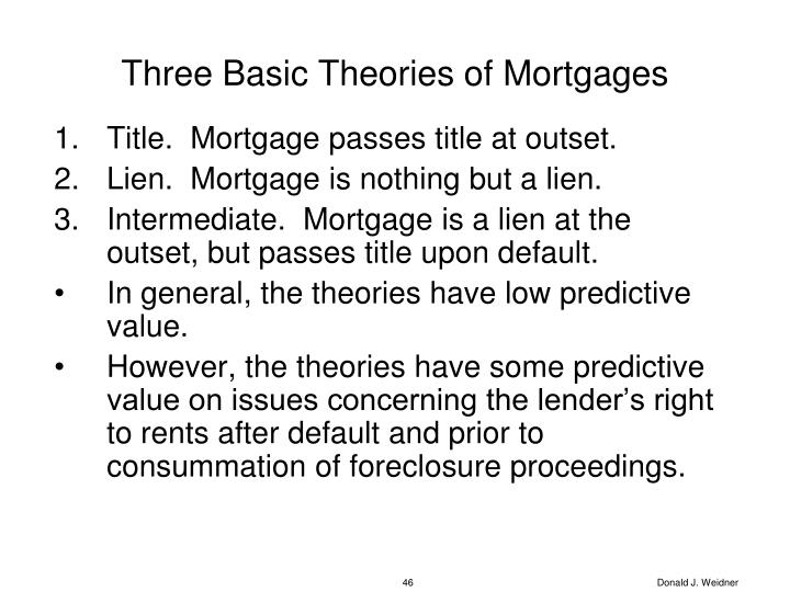 Three Basic Theories of Mortgages