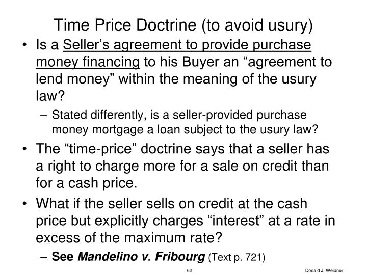 Time Price Doctrine (to avoid usury)