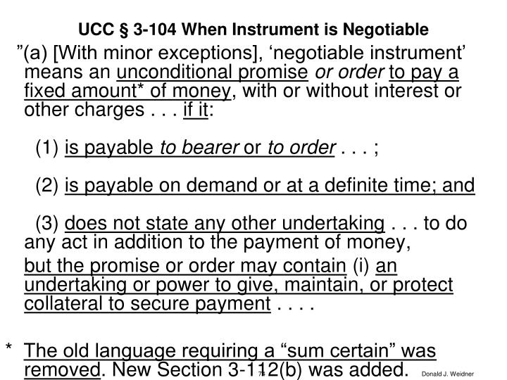 UCC § 3-104 When Instrument is Negotiable