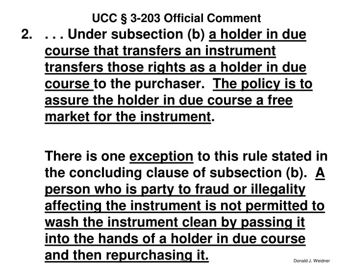 UCC § 3-203 Official Comment
