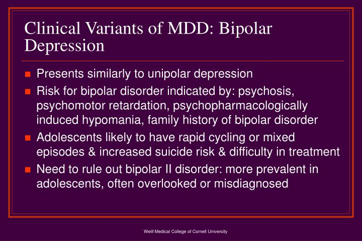 Clinical Variants of MDD: Bipolar Depression