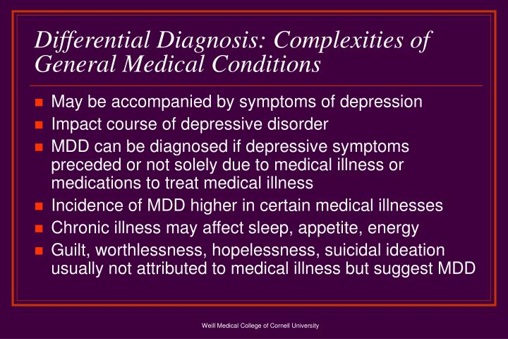 Differential Diagnosis: Complexities of General Medical Conditions