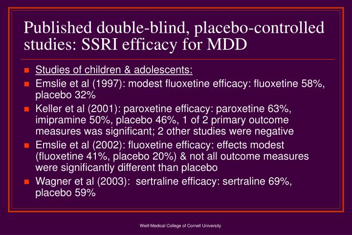 Published double-blind, placebo-controlled studies: SSRI efficacy for MDD