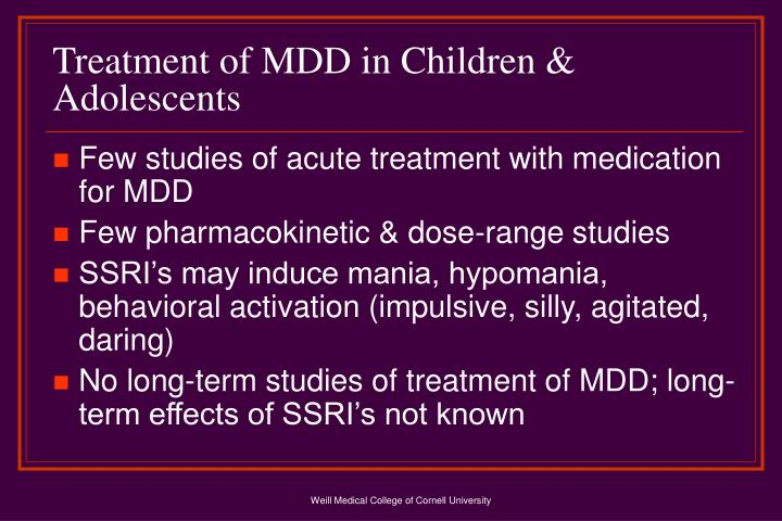 Treatment of MDD in Children & Adolescents