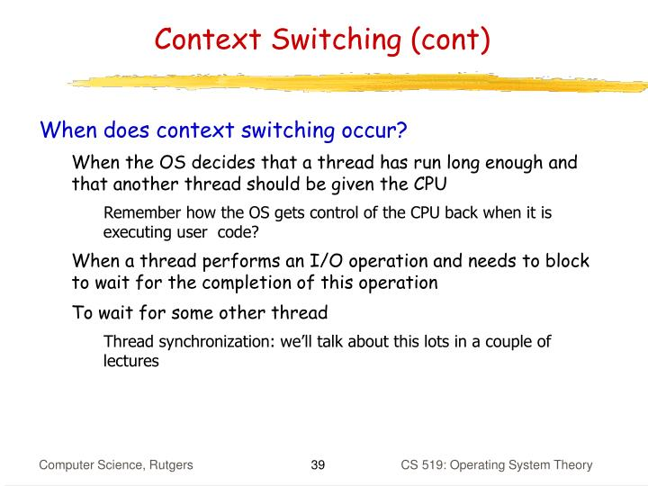 Context Switching (cont)