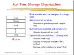 run time storage organization