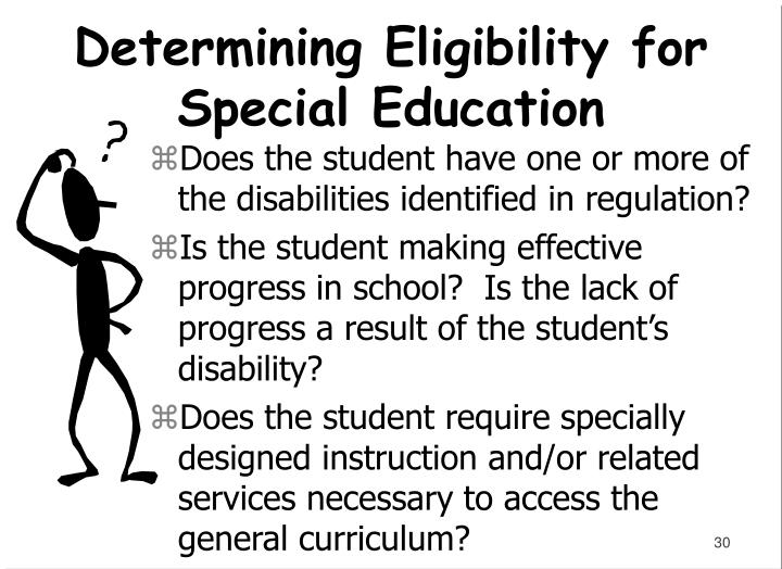 Does the student have one or more of the disabilities identified in regulation?