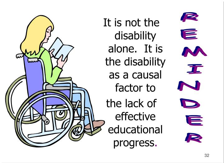 It is not the disability alone.  It is the disability as a causal factor to