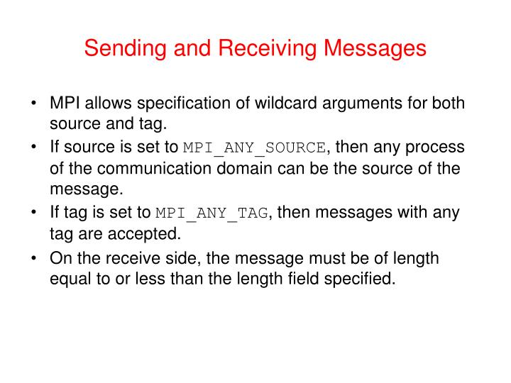 Sending and Receiving Messages