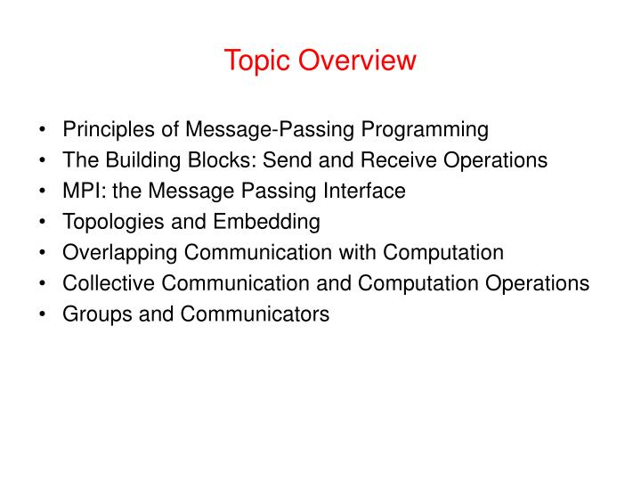 Topic Overview