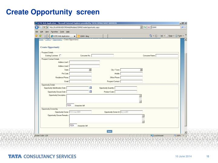 Create Opportunity  screen