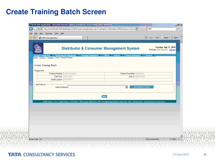 Create Training Batch Screen