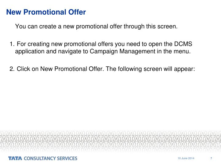 New Promotional Offer