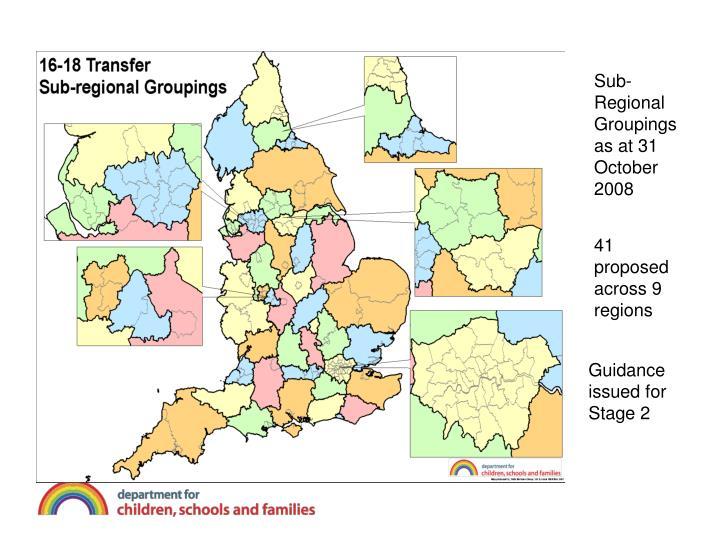 Sub-Regional Groupings as at 31 October 2008