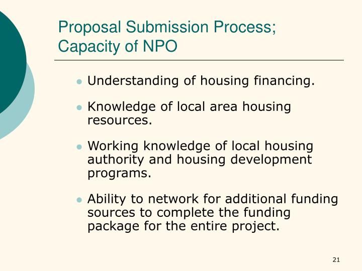 Proposal Submission Process; Capacity of NPO