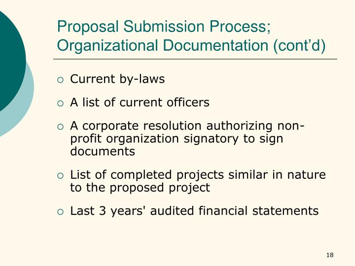 Proposal Submission Process; Organizational Documentation (cont'd)