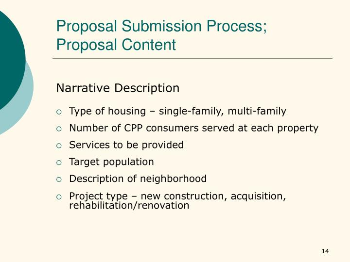 Proposal Submission Process; Proposal Content