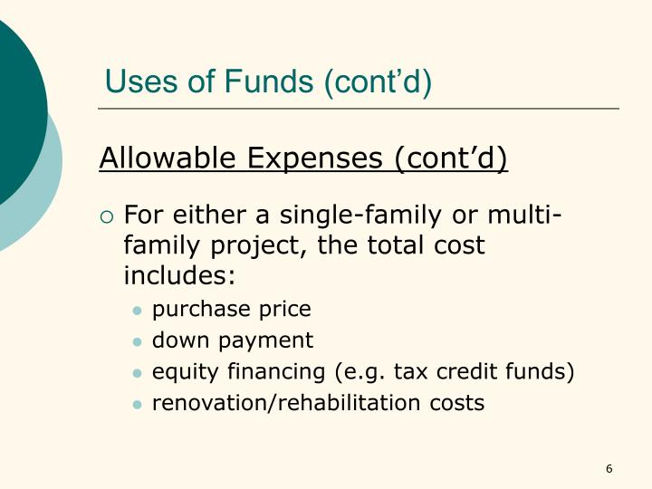 Uses of Funds (cont'd)