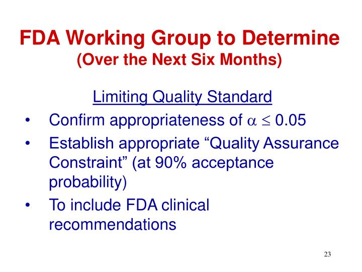 FDA Working Group to Determine