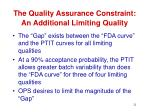 the quality assurance constraint an additional limiting quality