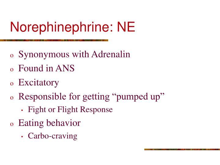 Norephinephrine: NE