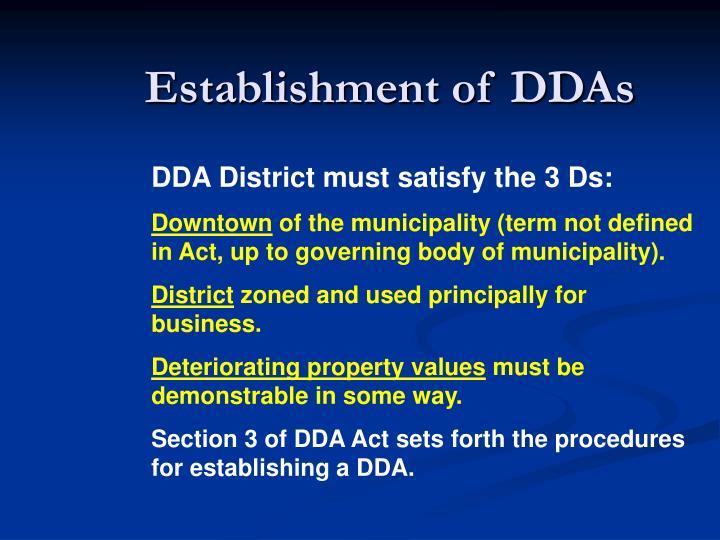 Establishment of DDAs