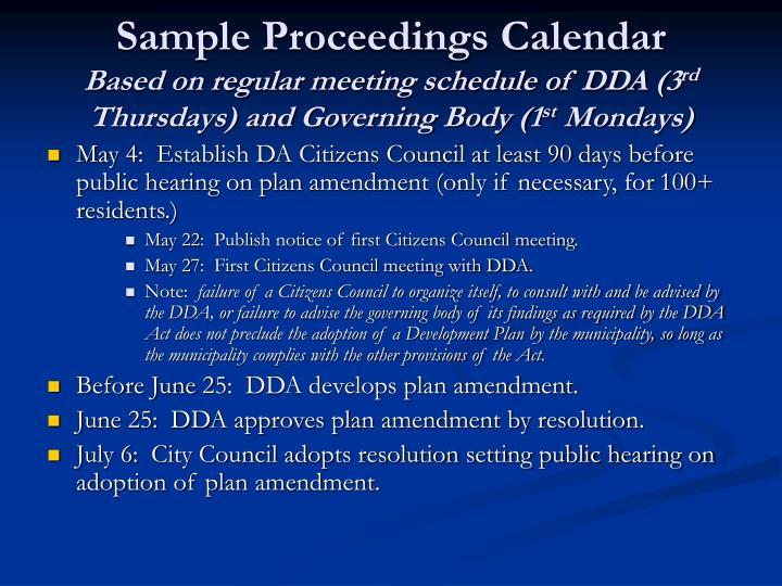 Sample Proceedings Calendar