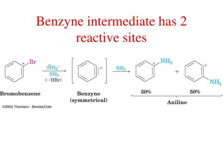 Benzyne intermediate has 2 reactive sites