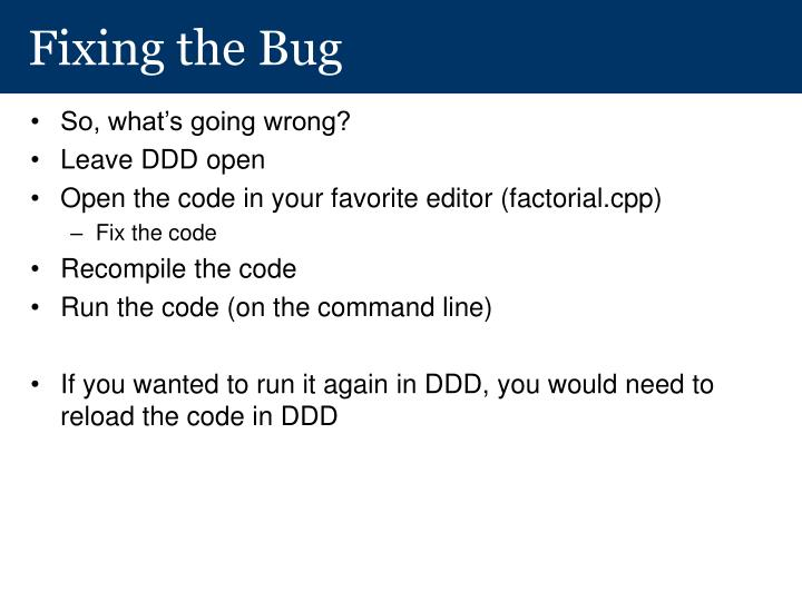 Fixing the Bug