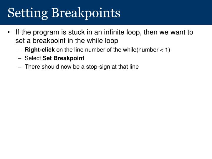 Setting Breakpoints