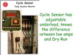 cycle sensor has adjustable underload knows the difference between low amps and dry run