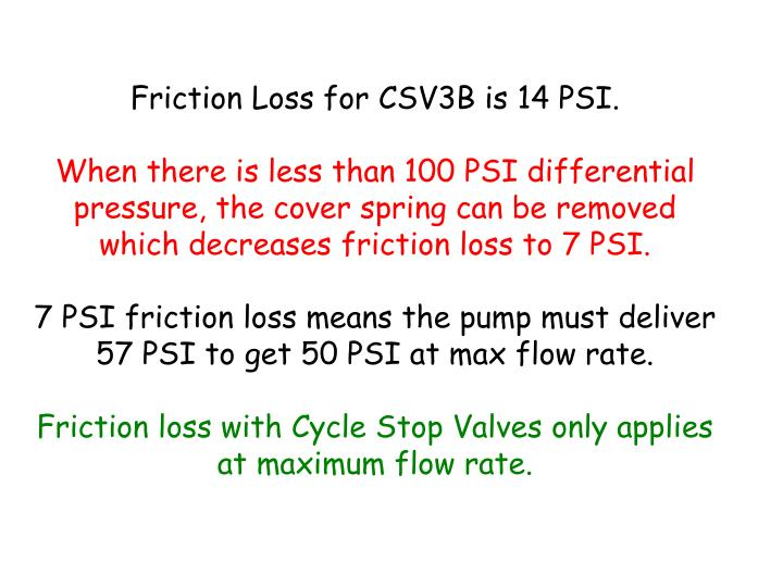 Friction Loss for CSV3B is 14 PSI.
